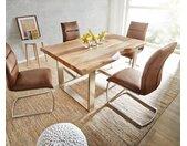 Table à manger Edge 140x90 XL acacia nature acier inoxydable mince Live Edge