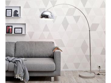 Lampadaire Big Deal éco socle en béton argenté réglable en hauteur lampe à arc
