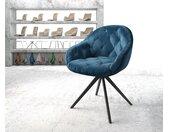 Chaise pivotante Gaio Flex bleu velours cadre croisé angulaire noir