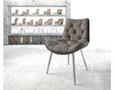 Chaise de salle à manger Taimi Flex anthracite vintage 4 pieds conique acier inoxydable