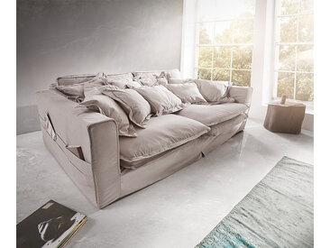 Canapé Noelia 240x145 cm gris clair avec coussin canapé à housse