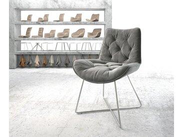 Chaise de salle à manger Taimi Flex gris velours X cadre acier inoxydable