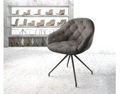 Chaise pivotante Gaio Flex anthracite vintage cadre croisé conique noir