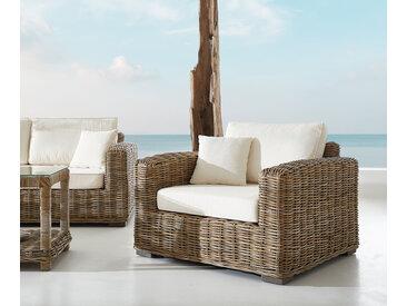 Chaise longue Nice en rotin naturel avec coussin blanc