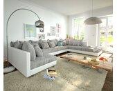 Canapé panoramique Clovis XL Blanc Gris clair Tabouret de canapé modulable