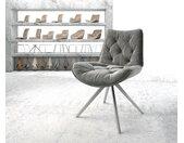 Chaise pivotante Taimi Flex gris velours cadre croisé carré acier inoxydable