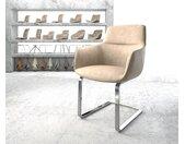 Chaise de salle à manger Pejo Flex beige vintage cantilever plat chromé