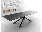 Table à manger Edge 300x100cm Laminam® céramique gris pieds milieu croisé noir