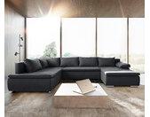Canapé panoramique Abilene 325x230 cm graphite fonction de couchage pouf variable