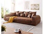 Canapé Violetta 310x135 cm marron aspect antique avec coussin grand canapé