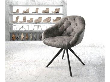 Chaise pivotante Gaio Flex gris vintage cadre croisé carré noir