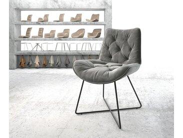 Chaise de salle à manger Taimi Flex gris velours X cadre noir
