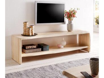 Meuble TV Live Edge 165 cm acacia blanchi 1 compartiment bord d'arbre