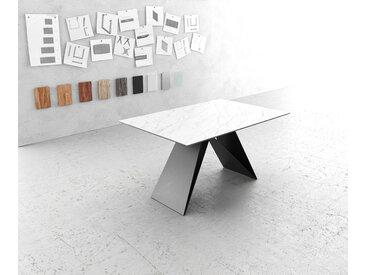 Table à manger Edge 140x90cm Laminam® céramique blanc V pieds milieu noir
