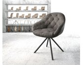 Chaise pivotante Gaio Flex anthracite vintage cadre croisé rond noir