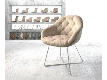 Fauteuil Gaio Flex beige vintage X cadre acier inoxydable