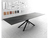 Table à manger Edge 300x100cm Laminam® céramique marron pieds milieu croisé rond noir