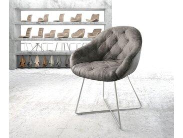 Fauteuil Gaio Flex gris vintage X cadre acier inoxydable