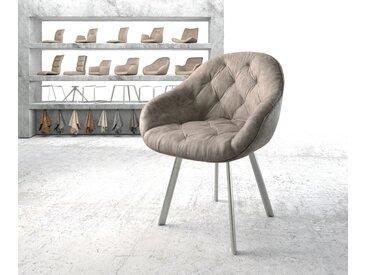 Fauteuil Gaio Flex taupe vintage 4 pieds ovale acier inoxydable