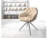 Chaise pivotante Gaio Flex beige vintage cadre croisé conique noir