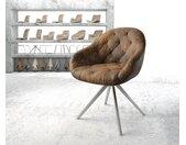 Chaise pivotante Gaio Flex marron vintage cadre croisé carré acier inoxydable