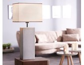 Lampe de table Carissima grise 30x20 tissu abat jour base béton