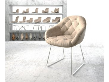Fauteuil Gaio Flex beige vintage cadre patin acier inoxydable