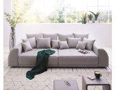 Grand canapé Violetta 310x135 cm gris matelassé avec coussin