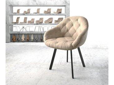 Fauteuil Gaio Flex beige vintage 4 pieds ovale noir