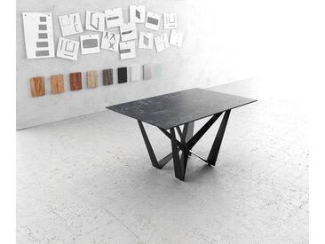 Table à manger Edge 140x90cm Laminam® céramique gris pieds milieu acier plat noir