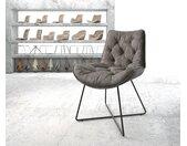 Chaise de salle à manger Taimi Flex anthracite vintage X cadre noir