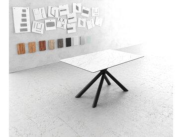Table à manger Edge 140x90cm Laminam® céramique blanc pieds milieu  croisé rond noir