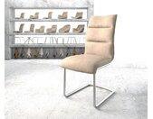 Chaise de salle à manger Xantus Flex beige vintage cantilever rond acier inoxydable