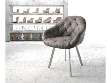 Fauteuil Gaio Flex gris vintage 4 pieds ovale acier inoxydable