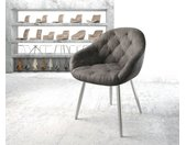Fauteuil Gaio Flex anthracite vintage 4 pieds conique acier inoxydable