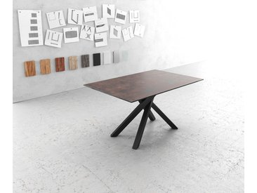 Table à manger Edge 140x90cm verre Antique marron pieds milieu croisé noir