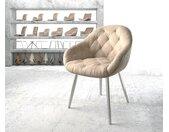 Fauteuil Gaio Flex beige vintage 4 pieds conique acier inoxydable
