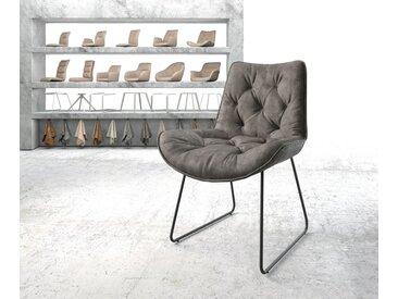 Chaise de salle à manger Taimi Flex anthracite vintage cadre patin noir