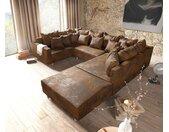 Canapé panoramique Clovis marron look antique Tabouret modulable avec accoudoirs
