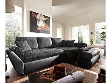 Canapé angle Loana 275x185 noir avec fonction lit variable