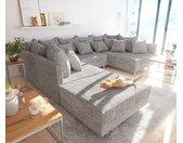 Canapé panoramique Clovis modulable gris clair tissu structuré tabouret