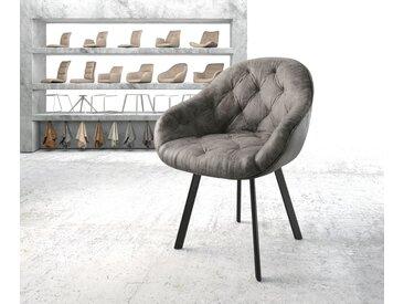Fauteuil Gaio Flex gris vintage 4 pieds ovale noir