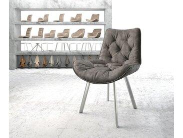 Chaise de salle à manger Taimi Flex anthracite vintage 4 pieds ovale acier inoxydable