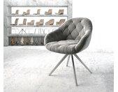 Chaise pivotante Gaio Flex gris velours cadre croisé carré acier inoxydable