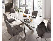 Table manger Daven 160/200x90 cm céramique blanche métal extensible
