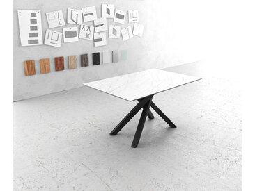 Table à manger Edge 140x90cm Laminam® céramique blanc pieds milieu croisé noir