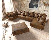 Canapé panoramique Clovis XL marron look antique tabouret modulaire