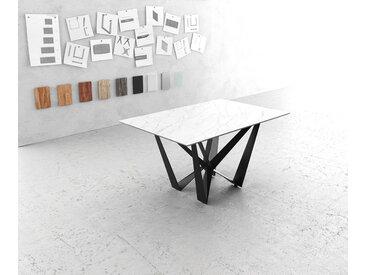 Table à manger Edge 140x90cm Laminam® céramique blanc  pieds milieu acier plat noir
