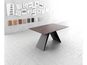 Table à manger Edge 140x90cm verre Antique marron V pieds milieu noir