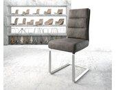 Chaise de salle à manger Pela Flex anthracite vintage cantilever plat acier inoxydable